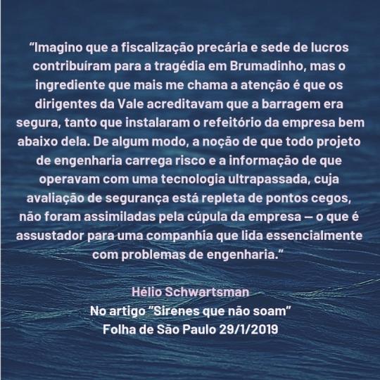 citação hélio schwartsman - brumadinho